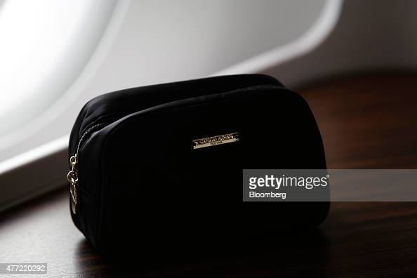 9602deb57 A Giorgio Armani SpA passenger gift bag sits on the table of a First...  News Photo - Getty Images