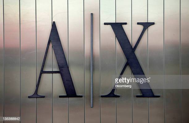 Giorgio Armani SpA's Armani Exchange signage is displayed outside of a store at the Third Street Promenade outdoor mall in Santa Monica California US...