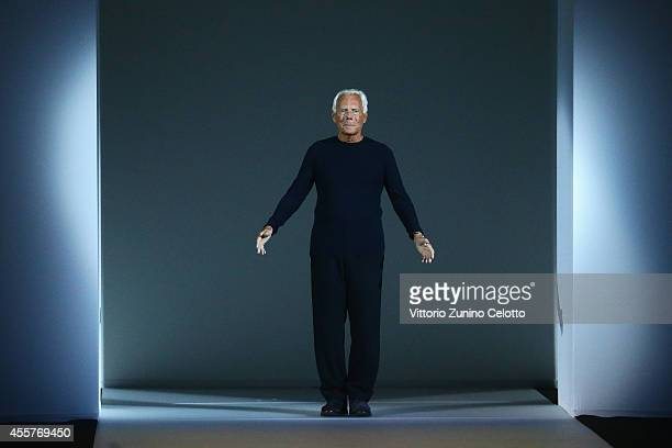 Giorgio Armani the runway during the Giorgio Armani - Show as part of Milan Fashion Week Womenswear Spring/Summer 2015 on September 20, 2014 in...