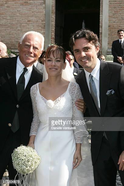 Giorgio Armani uncle of Andrea Camerana with Alexia Aquilani and Andrea Camerana
