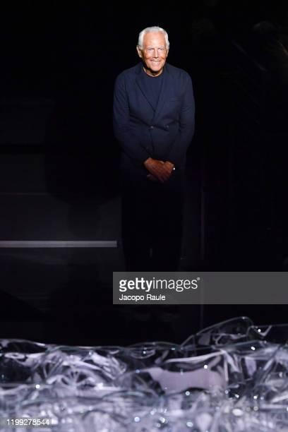 Giorgio Armani walks the runway at the Giorgio Armani fashion show on January 13, 2020 in Milan, Italy.