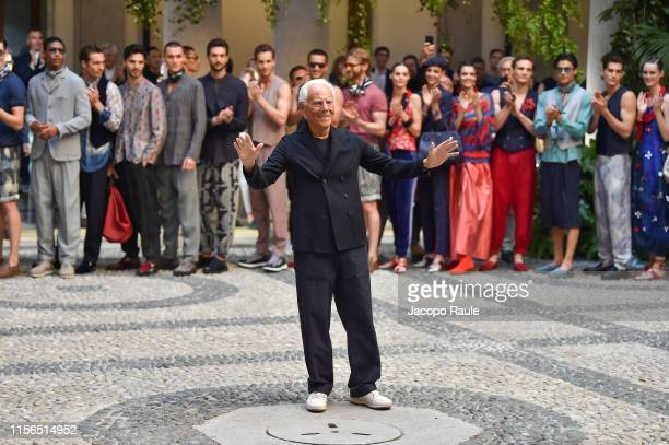 Giorgio Armani walks the runway at the Giorgio Armani fashion show during the Milan Men's Fashion Week Spring/Summer 2020 on June 17, 2019 in Milan,...