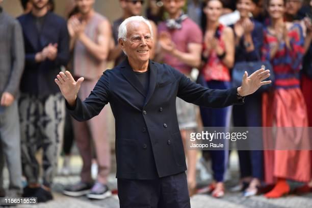 Giorgio Armani walks the runway at the Giorgio Armani fashion show during the Milan Men's Fashion Week Spring/Summer 2020 on June 17, 2019 in Milan,...