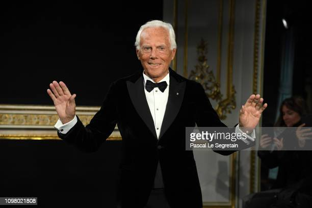 Giorgio Armani walks the runway during the Giorgio Armani Prive Spring io 2019 show as part of Paris Fashion Week on January 22, 2019 in Paris,...
