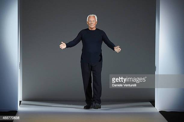 Giorgio Armani walks the runway during the Giorgio Armani - Show as part of Milan Fashion Week Womenswear Spring/Summer 2015 on September 20, 2014 in...