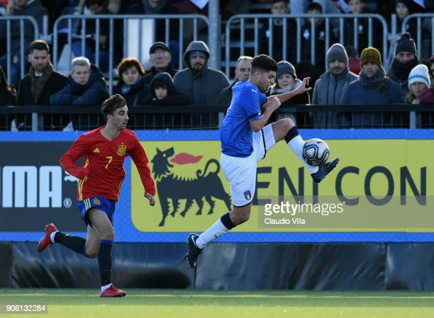 Giorgio Brogni of Italy in action during the U17 International Friendly match between Italy and Spain at Juventus Center Vinovo on January 17 2018 in...
