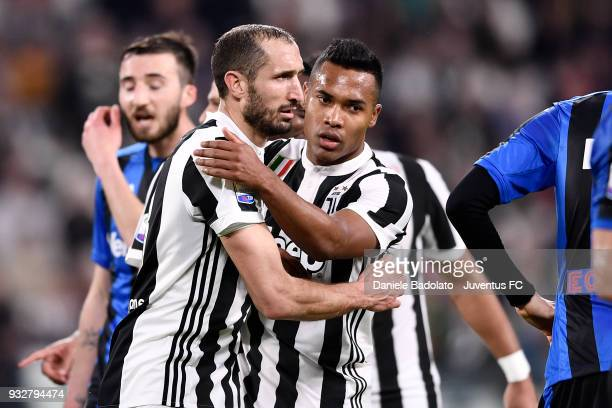 Giorgio Chiellini and Alex Sandro of Juventus during the serie A match between Juventus and Atalanta BC on March 14 2018 in Turin Italy