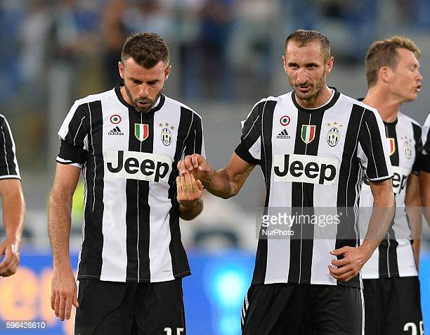 Giorgio Chiellini and Andrea Barzagli during the Italian Serie A football match between SS Lazio and FC Juventus at the Olympic Stadium in Rome on...