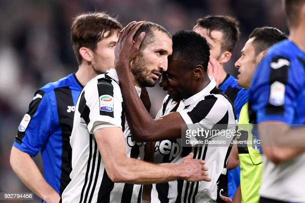 Giorgio Chiellini and Blaise Matuidi of Juventus during the serie A match between Juventus and Atalanta BC on March 14 2018 in Turin Italy