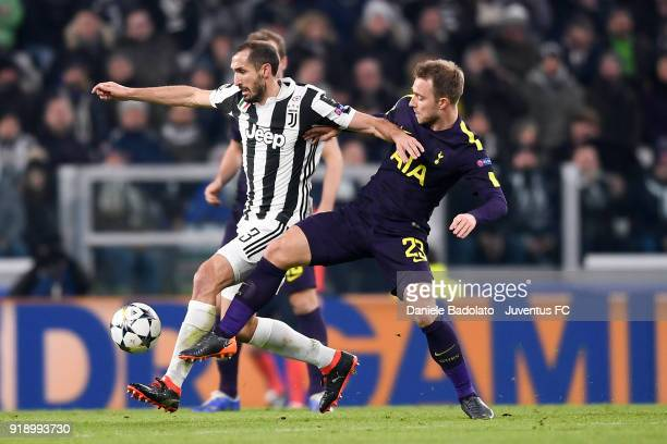 Giorgio Chiellini and Christian Eriksen during the UEFA Champions League Round of 16 First Leg match between Juventus and Tottenham Hotspur at...