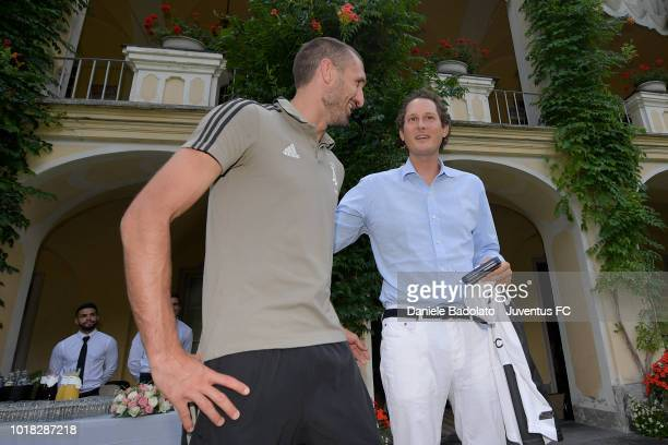 Giorgio Chiellini and John Elkann during the PreSeason Friendly match between Juventus and Juventus U19 on August 12 2018 in Villar Perosa Italy