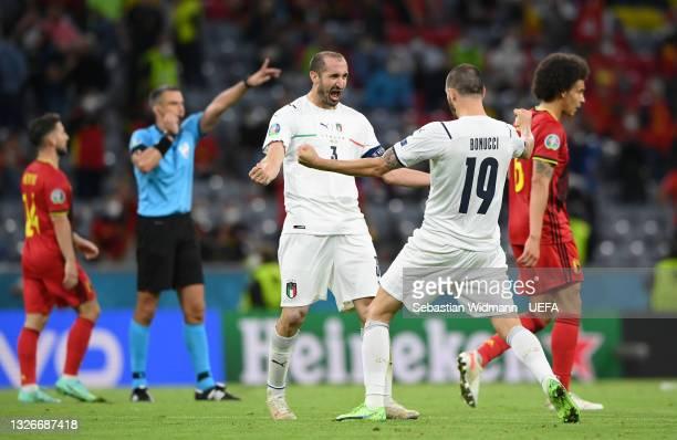 Giorgio Chiellini and Leonardo Bonucci of Italy celebrate after victory in the UEFA Euro 2020 Championship Quarter-final match between Belgium and...