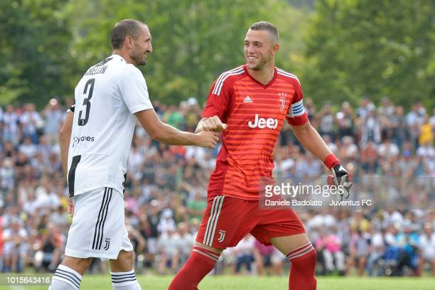 Giorgio Chiellini and Leonardo Loria during the PreSeason Friendly match between Juventus and Juventus U19 on August 12 2018 in Villar Perosa Italy