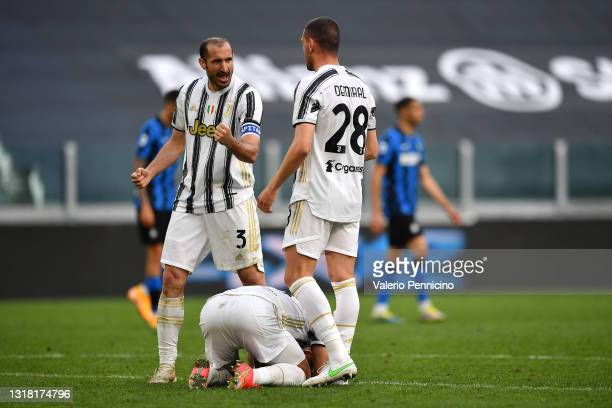 Giorgio Chiellini and Merih Demiral of Juventus celebrate victory after the Serie A match between Juventus and FC Internazionale at Allianz Stadium...
