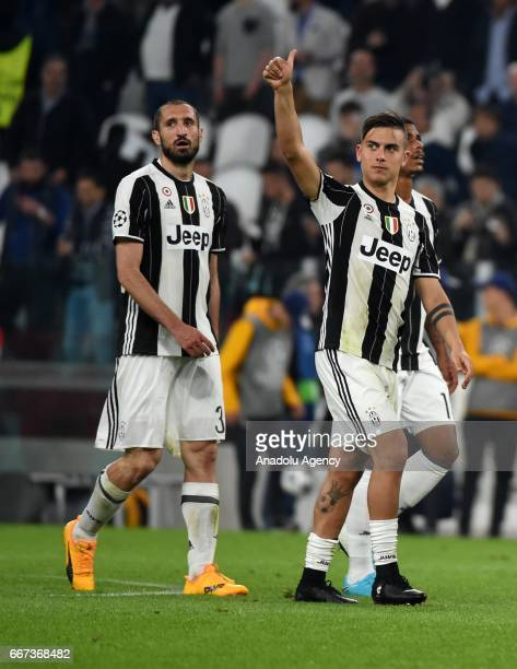 Giorgio Chiellini and Paulo Dybala of FC Juventus celebrate the victory after winning the UEFA Champions League Round of 4 first leg match between FC...