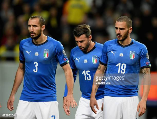 Giorgio Chiellini Andrea Barzagli and Leonardo Bonucci of Italy look on during the FIFA 2018 World Cup Qualifier PlayOff First Leg between Sweden and...