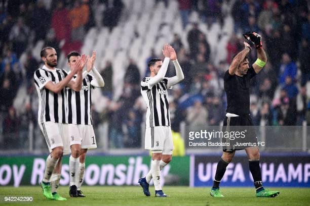 Giorgio Chiellini Andrea Barzagli Mattia De Sciglio and Gianluigi Buffon of Juventus in action during the UEFA Champions League Quarter Final Leg One...