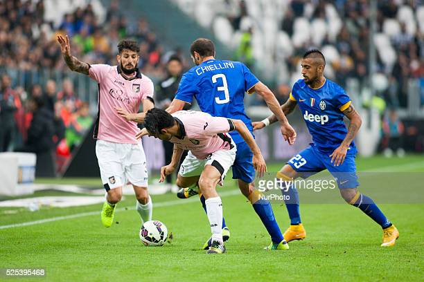 Giorgio Chiellini Arturi Vidal Eros Pisano and Francesco Bolzoni during the Serie A match betweenJuventus FC and US Palermo at Juventus Stafium on...