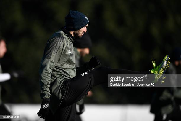 Giorgio Chiellini during a Juventus Training Session at Juventus Center Vinovo on December 4 2017 in Vinovo Italy