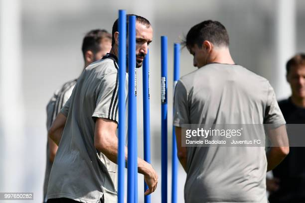 Giorgio Chiellini during a Juventus training session at Juventus Training Center on July 13 2018 in Turin Italy