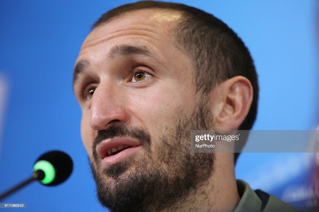 Giorgio Chiellini (Juventus FC) during the Juventus FC press conference on the eve of the first leg of the Round 16 of the UEFA Champions League 2017/18 between Juventus FC and Tottenham Hotspur FC at Allianz Stadium on 12 February, 2018 in Turin, Italy.