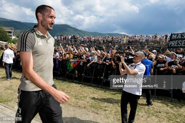 Giorgio Chiellini during the PreSeason Friendly match between Juventus and Juventus U19 on August 12 2018 in Villar Perosa Italy