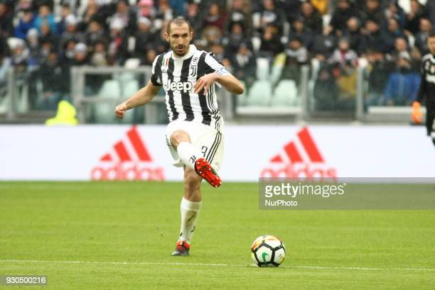 Giorgio Chiellini during the Serie A football match between Juventus FC and Udinese Calcio at Allianz Stadium on 11 March 2018 in Turin Italy...