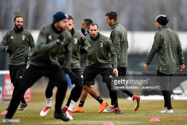 Giorgio Chiellini during the training session before the Champions League match between Tottenham Hotspur and Juventus at Juventus Center Vinovo on...