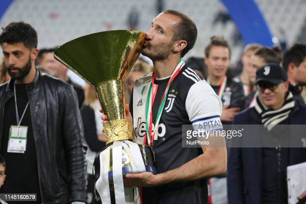Giorgio Chiellini during the victory ceremony following the Italian Serie A last football match of the season Juventus versus Atalanta on May 19 2019...