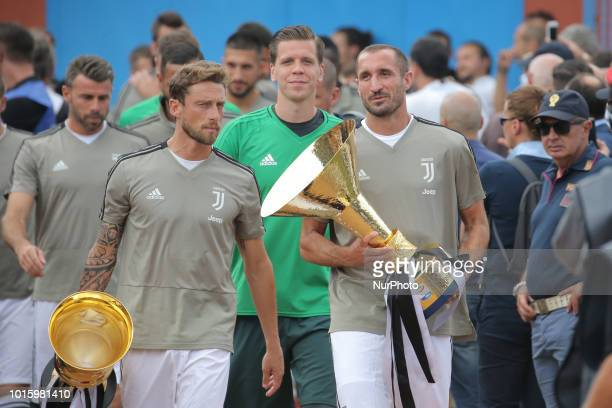 Giorgio Chiellini e Claudio Marchisio looks on during the friendly match between Juventus FC and Juventus FC B on August 12 2018 in Villar Perosa...