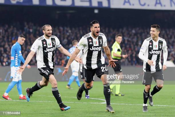 Giorgio Chiellini Emre Can and Cristiano Ronaldo celebrate the 02 goal scored by Emre Can during the Serie A match between SSC Napoli and Juventus at...