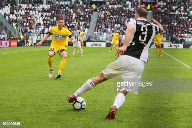 Giorgio Chiellini in action during the Serie A football match between Juventus FC and Udinese Calcio at Allianz Stadium on 11 March 2018 in Turin...