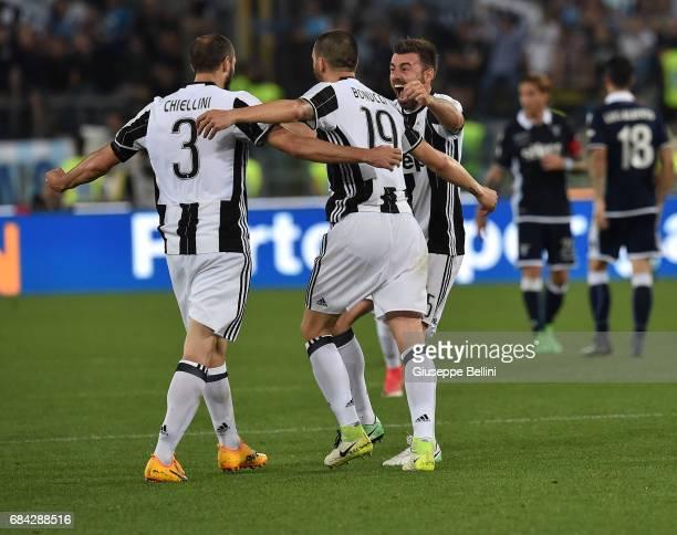 Giorgio Chiellini Leonardo Bonucci and Andrea Barzagli of Juventus FC celebrate the victory after the TIM Cup Final match between SS Lazio and...