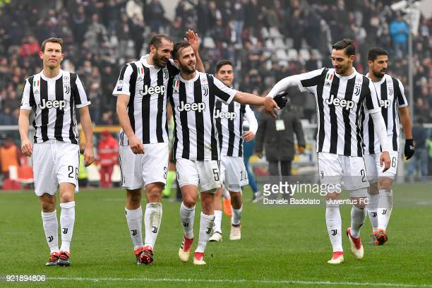 Giorgio Chiellini Miralem Pjanic and mattia De Sciglio of Juventus celebrate during the serie A match between Torino FC and Juventus at Stadio...
