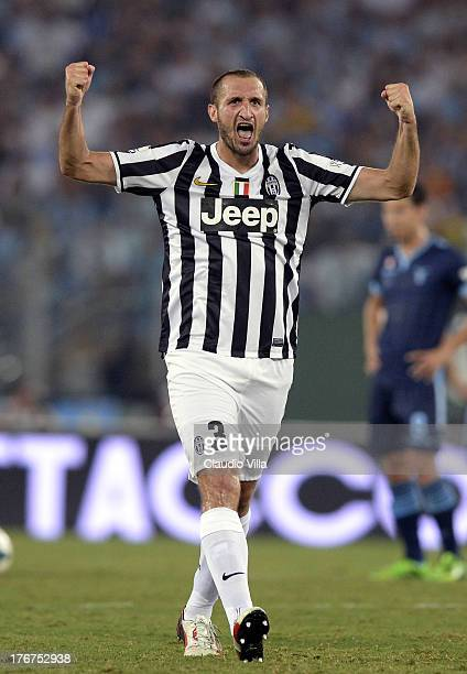 Giorgio Chiellini of FC Juventus celebrates scoring the second goal during the TIM Supercup match between SS Lazio and FC Juventus at Olimpico...