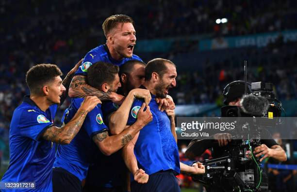 Giorgio Chiellini of Italy celebrates after scoring a goal which is later disallowed for hand ball during the UEFA Euro 2020 Championship Group A...