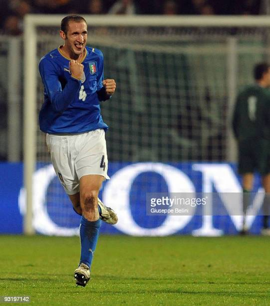 Giorgio Chiellini of Italy celebrates after scoring the goal during the international friendly match between Italy and Sweden at Dino Manuzzi Stadium...