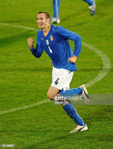 Giorgio Chiellini of Italy celebrates after scoring the opening goal during the international friendly match between Italy and Sweden at Dino Manuzzi...