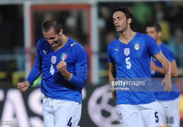 Giorgio Chiellini of Italy celebrates after scoring the opening goal during the international friendly match beetwen Italy and Sweden at Dino Manuzzi...