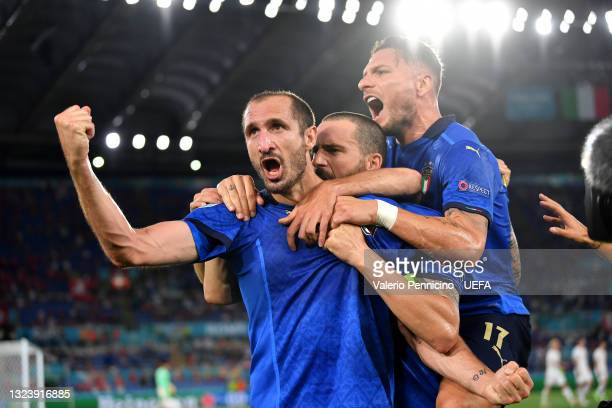 Giorgio Chiellini of Italy celebrates after scoring their side's first goal during the UEFA Euro 2020 Championship Group A match between Italy and...
