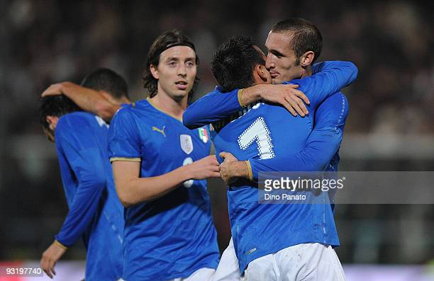 Giorgio Chiellini of Italy celebrates his opening goal with team mate Marco Marchionni during the international friendly match beetwen Italy and...