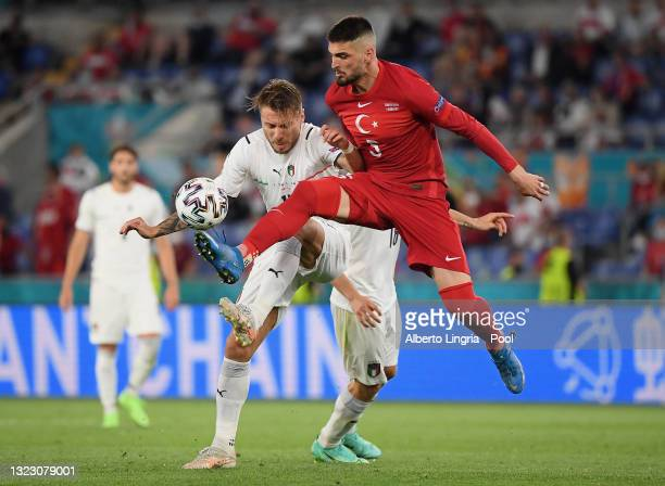 Giorgio Chiellini of Italy controls the ball whilst under pressure from Ciro Immobile of Italy during the UEFA Euro 2020 Championship Group A match...