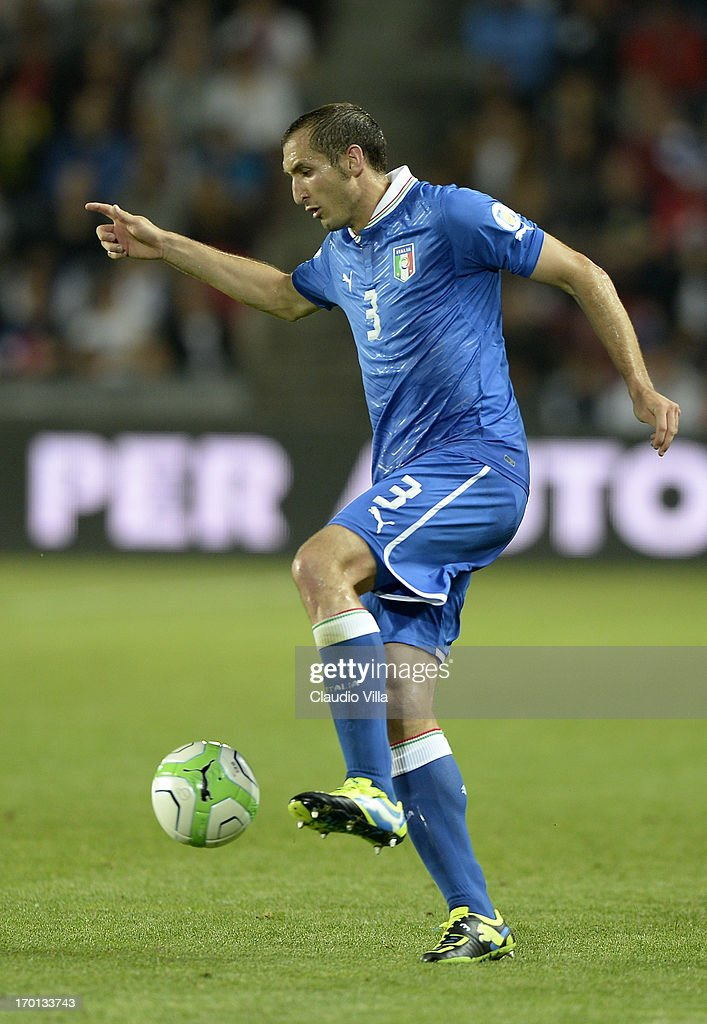 Giorgio Chiellini of Italy during the FIFA 2014 World Cup Qualifier group B match between Czech Republic and Italy at Generali Arena on June 7, 2013 in Prague, Czech Republic.