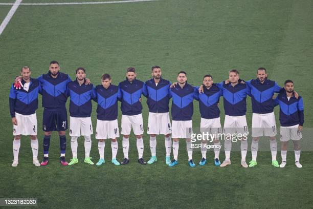 Giorgio Chiellini of Italy, goalkeeper Gianluigi Donnarumma of Italy, Manuel Locatelli of Italy, Nicolo Barella of Italy, Domenico Berardi of Italy,...