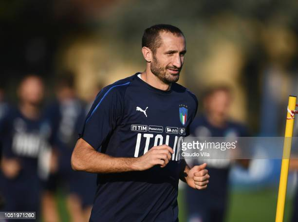 Giorgio Chiellini of Italy in action during a Italy training session at Centro Tecnico Federale di Coverciano on October 12 2018 in Florence Italy