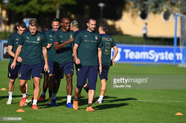 Giorgio Chiellini of Italy in action during a training session at Centro Tecnico Federale di Coverciano on October 8, 2020 in Florence, Italy.