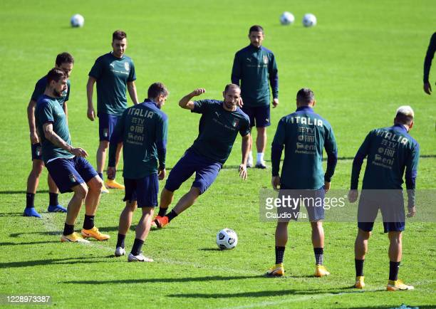 Giorgio Chiellini of Italy in action during a training session at Centro Tecnico Federale di Coverciano on October 9, 2020 in Florence, Italy.