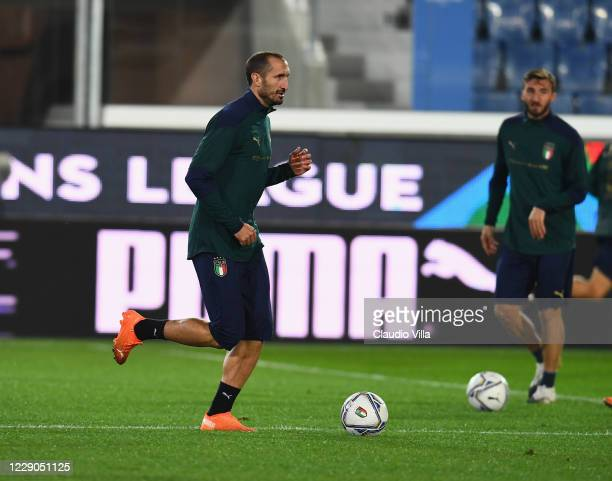 Giorgio Chiellini of Italy in action during a training session at Gewiss Stadium on October 13, 2020 in Bergamo, Italy.