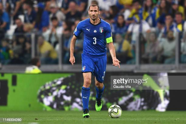 Giorgio Chiellini of Italy in action during the UEFA Euro 2020 Qualifier between Italy and Bosnia and Herzegovina at Juventus Stadium on June 11,...