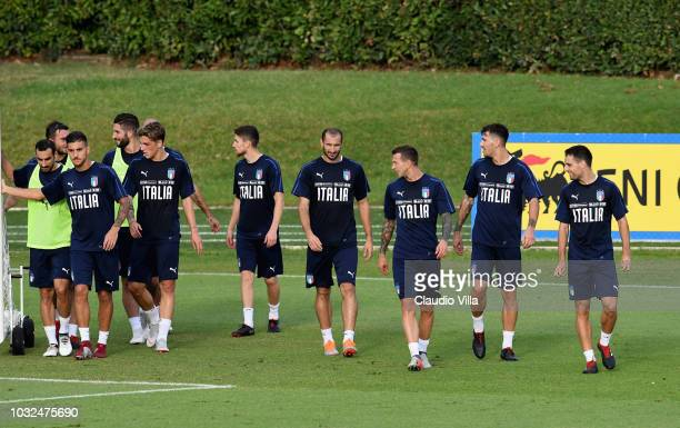 Giorgio Chiellini of Italy looks on during a Italy training session at Centro Tecnico Federale di Coverciano on September 4 2018 in Florence Italy